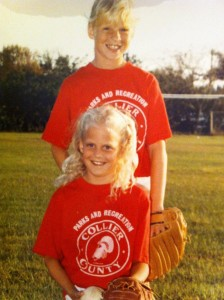 My sister and me in our awesome softball uniforms.
